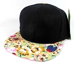 Wholesale Blank Floral Snapback Hats Caps - Black | Hawaiian Flowers Brim