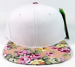 Wholesale Blank Floral Snapback Hats Caps - White | Pink Flowers