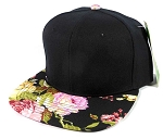 Wholesale Blank Floral Snapback Hats Caps - Black | Black Flower Brim