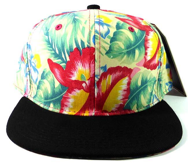 2e59a2ebb53 Blank Floral Snapback Hats Caps Wholesale - Hawaiian Flowers Green ...