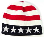 Wholesale Winter Short Beanie Hats - American Flag