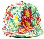 Blank Floral Snapback Hats Caps Wholesale - Hawaiian Flowers Green