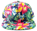 Blank Floral Snapback Hats Caps Wholesale - Hawaiian Flowers Navy