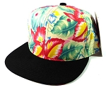 Blank Floral Snapback Hats Caps Wholesale - Hawaiian Flowers Green | Black