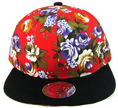 86a7e964 Blank Vintage Floral Snapback Hats Wholesale - Red Large Flowers | Black  Brim