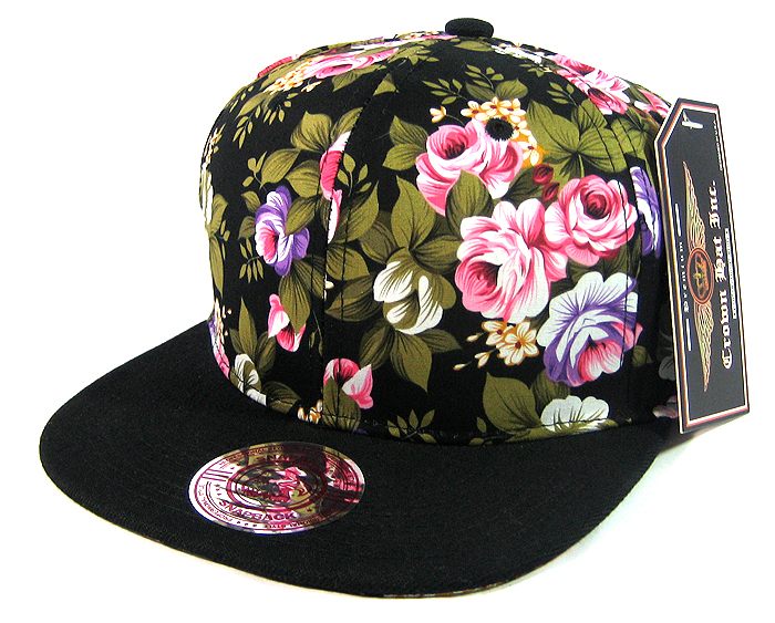 Blank Vintage Floral Snapback Hats Wholesale - Black Large Flowers . b42e1b9e083b