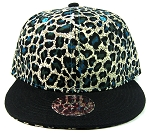 Blank Vintage Cheetah Snapbacks Hats Wholesale - Turquoise Blue Crown