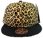 Blank Vintage Cheetah Snapbacks Hats Wholesale - Brown Crown