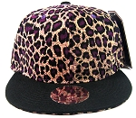 Blank Vintage Cheetah Snapbacks Hats Wholesale - Purple Crown