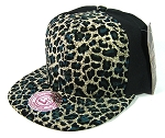 Blank Vintage Cheetah Snapbacks Hats Wholesale - 6 Panel | Olive Blue