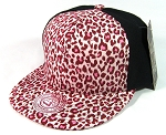 Blank Vintage Cheetah Snapbacks Hats Wholesale - 6 Panel | Pink