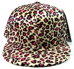 Plain Leopard/Cheetah Snapback Hats Wholesale - Hot Pink