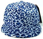 Plain Leopard/Cheetah Snapback Hats Wholesale - Blue - Shiny