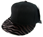 Blank Zebra Snapback Hats Wholesale - Black | Dark Brown - Glossy Smooth Brim