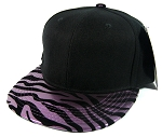 Blank Zebra Snapback Hats Wholesale - Black | Metallic Purple