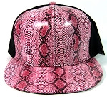 Blank Snakeskin Snapback Hats Wholesale - 6 Panel | Red