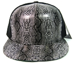 Blank Snakeskin Snapback Hats Wholesale - 6 Panel | Black