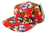 Blank 5 Panel Camp Hats/Caps Wholesale - All Red Flower