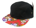 Blank 5 Panel Camp Hats/Caps Wholesale - Red Floral Brim