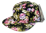 Blank 5 Panel Camp Hats/Caps Wholesale - All Black Flower