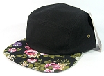 Blank 5 Panel Camp Hats/Caps Wholesale - Black Floral Brim