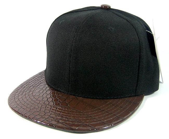 76943eb0 Blank Faux Alligator Skin Retro Snapback Hats Wholesale - Black / Brown