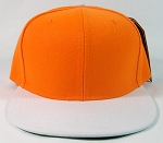 Blank Snapback Hat Wholesale - Two Tone Caps - Orange | White