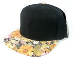 Wholesale Blank Floral Snapback Hats - Black Crown | Orange Flower Brim