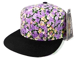 Wholesale Plain Floral Snapback Hats Caps - Small Purple Flower | Black Brim