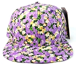 Wholesale Blank Floral Snapback Hats Caps - Small Purple Flowers