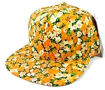 Wholesale Blank Floral Snapback Hats Caps - Small Orange Flowers