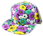 Wholesale Blank Floral Snapback Hats Caps - Purple Daisy