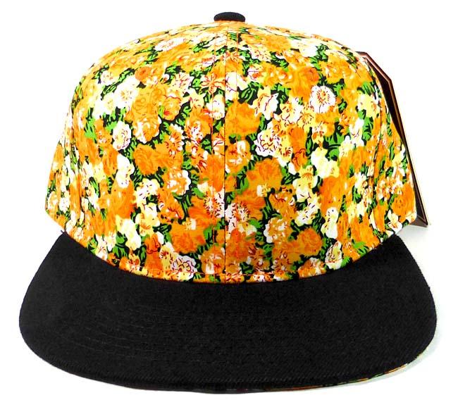 142d25812806ef Wholesale Blank Floral Snapback Hats Orange Flower Print Black Brim Bulk