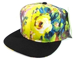 Blank Floral Snapback Hats Caps Wholesale - Yellow & Blue Flowers | Black Brim