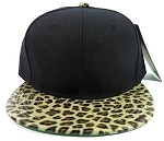 Blank Leopard/Cheetah Snapback Vintage Hats Caps Wholesale - Black