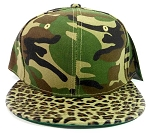 Blank Leopard/Cheetah Snapback Vintage Hats Caps Wholesale - Green Camo