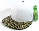 Blank Leopard/Cheetah Snapback Vintage Hats Caps Wholesale - White