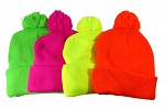 Pom Pom Beanies Wholesale Hats - Neon Colors