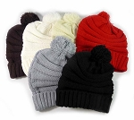 Pom Pom Beanies Winter Hats Wholesale - Plain Stripes