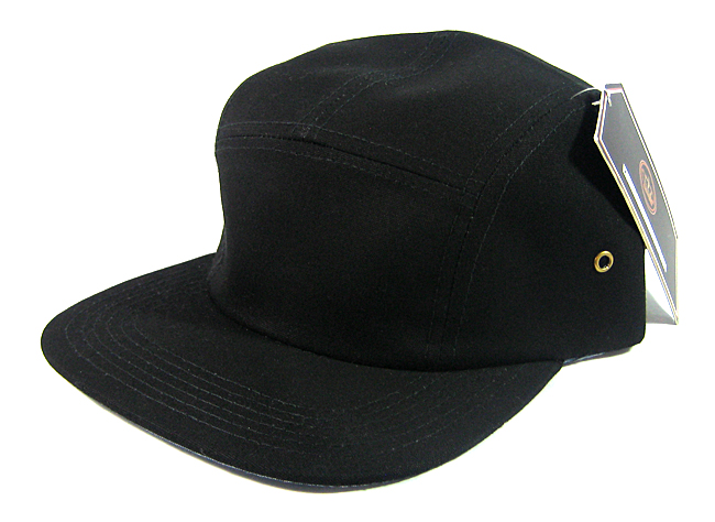 blank 5 panel camp hats caps wholesale solid black