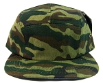 Blank 5 Panel Camp Hats/Caps Wholesale - Green Camouflage