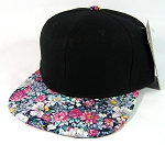 Wholesale Blank Floral Snapback Hats - Black | Daisy Flowers