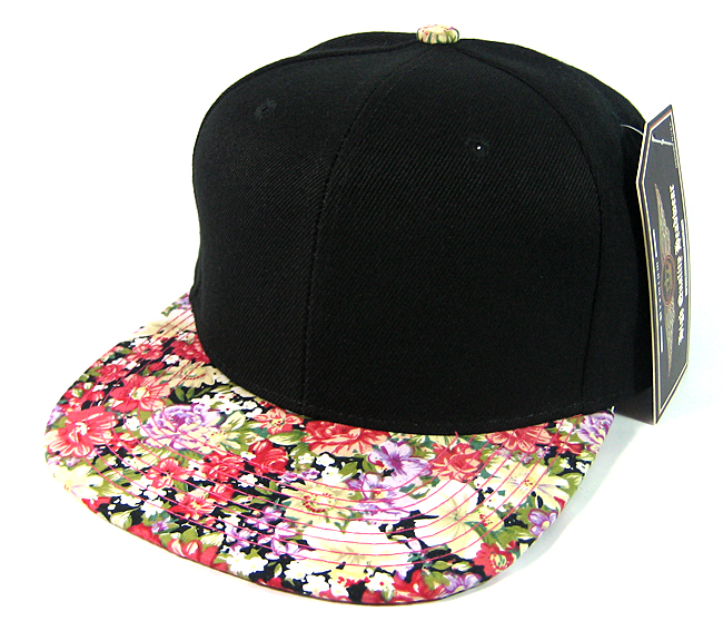 37d3ae46dde Home   ALL HATS   Wholesale Blank Floral Snapback Hats - Black
