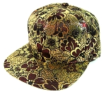 Wholesale Blank Floral Snapbacks Caps - All Floral | Gold & Burgundy