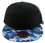 Wholesale Blank Snapback Hats - Black | Blue Camo