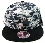Wholesale Blank Snapback Hats - Gray Camo | Black Brim