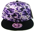 Wholesale Blank Snapback Hats - Purple Camo | Black Brim