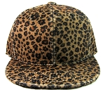 Blank Plain Leopard Snapback Hats Wholesale - Dark Brown - Kimo