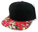 Blank Retro Floral Snapback Hats Wholesale - Black | Red Brim