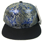 Blank Retro Floral Snapback Hats Wholesale - Gold.Blue Flowers Crown